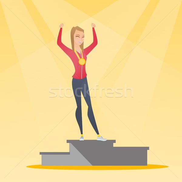 Sportsmenka zwycięzca podium młodych Zdjęcia stock © RAStudio