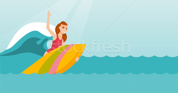 Young caucasian surfer in action on a surfboard. Stock photo © RAStudio