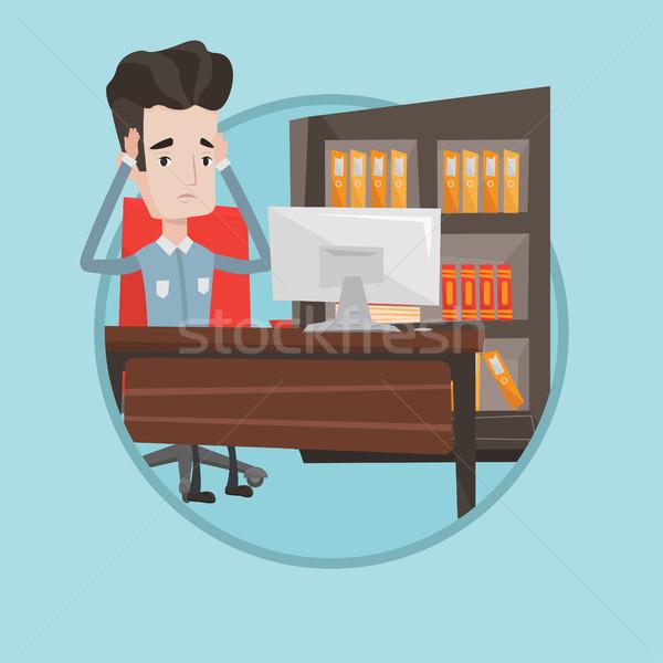 Stockfoto: Moe · werknemer · vergadering · kantoor · werkplek · bezorgd