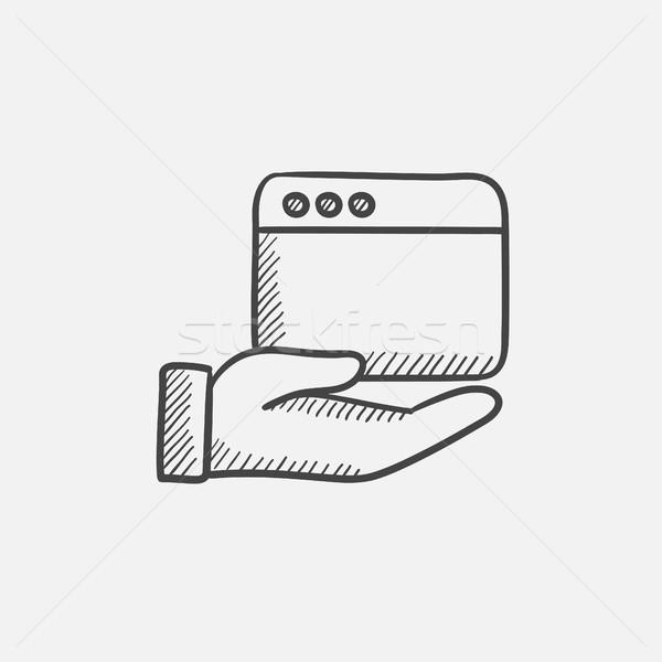 Kéz tart böngésző ablak rajz ikon Stock fotó © RAStudio