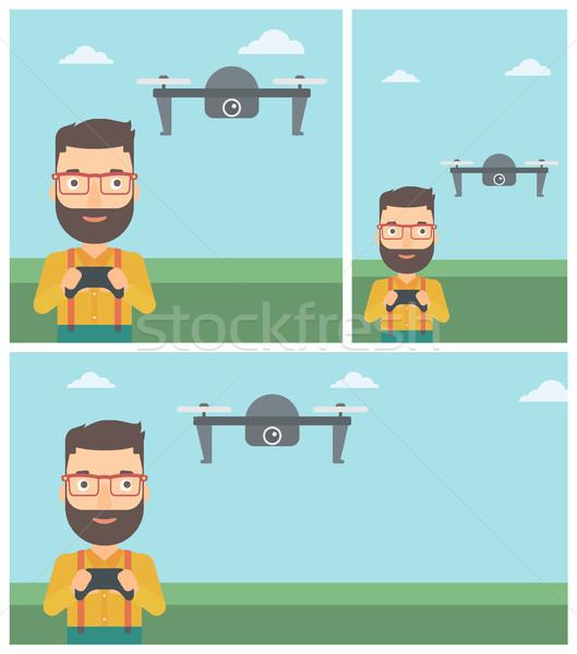 Man flying drone vector illustration. Stock photo © RAStudio