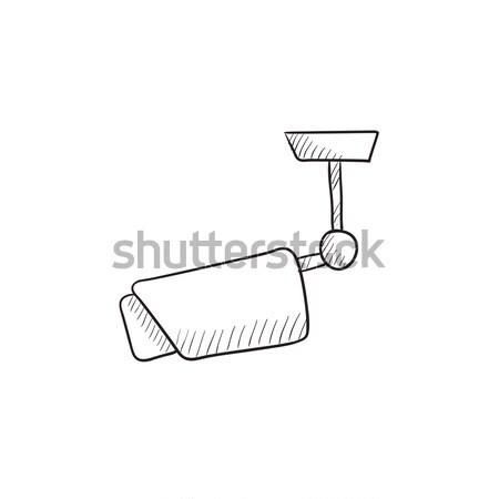 Outdoor surveillance camera sketch icon. Stock photo © RAStudio