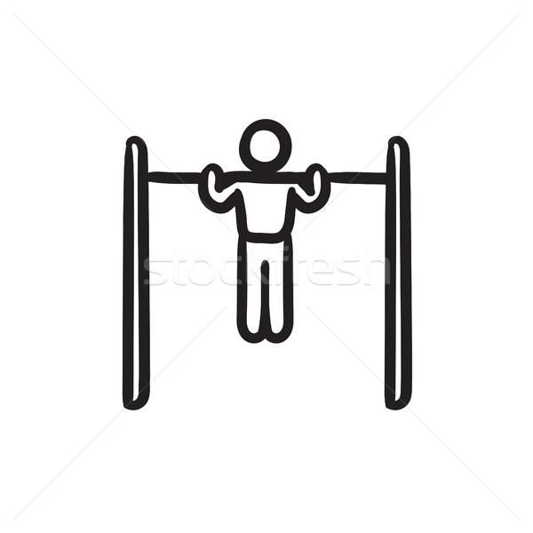 гимнаст Бар эскиз икона вектора Сток-фото © RAStudio