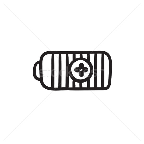 Fully charged battery sketch icon. Stock photo © RAStudio
