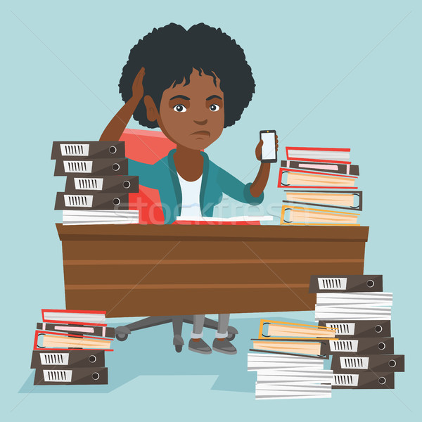 Rozpacz kierownik pracy biuro Afryki posiedzenia Zdjęcia stock © RAStudio