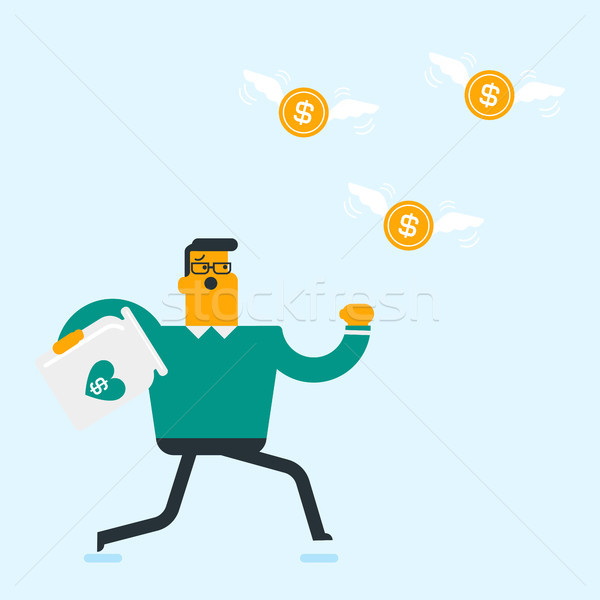 Caucasian white businessman trying to catch coins. Stock photo © RAStudio