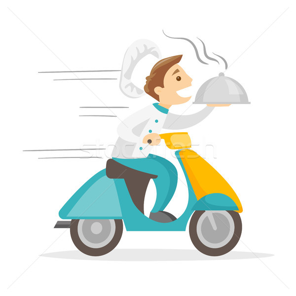 Caucasian white man delivering dish on scooter. Stock photo © RAStudio