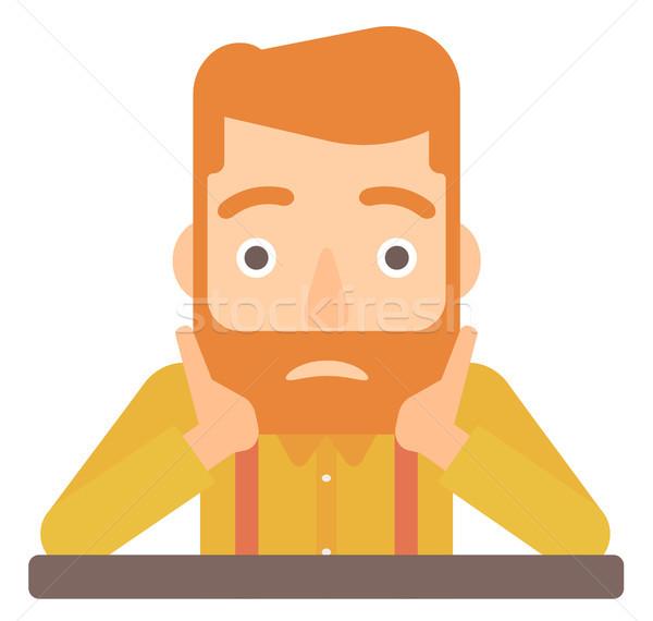 Homme tête désespérée désappointé barbe Photo stock © RAStudio