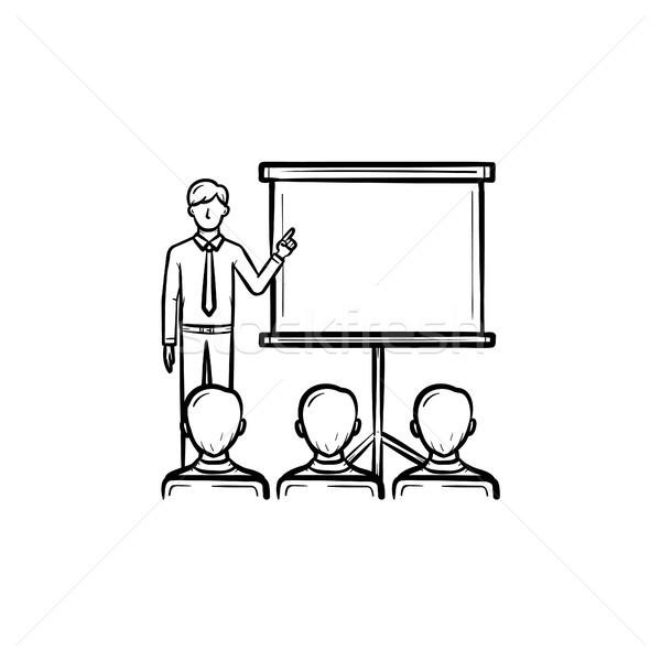 Presentatie opleiding schets icon college Stockfoto © RAStudio