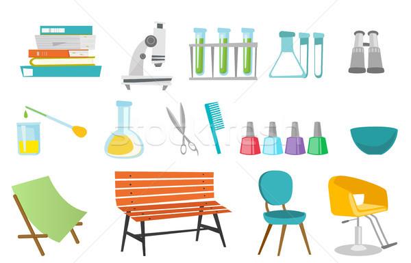 Hairdressing tools and laboratory equipment set. Stock photo © RAStudio