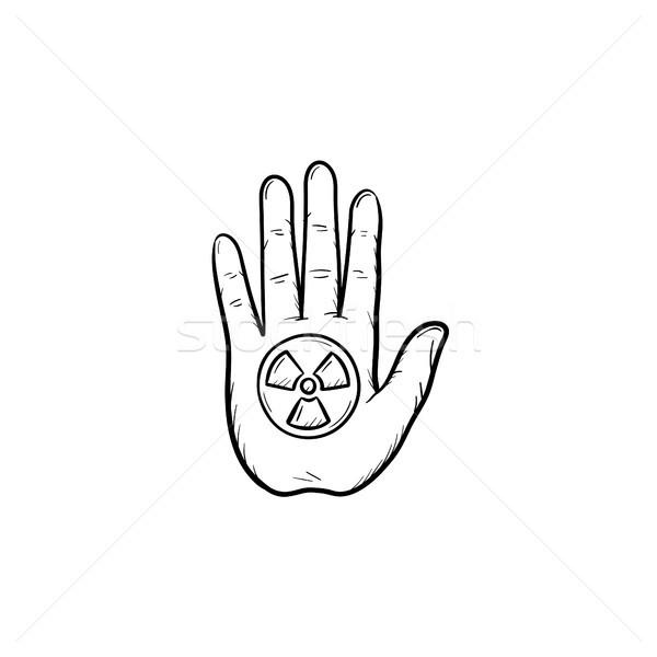 Stop hand sign hand drawn sketch icon. Stock photo © RAStudio