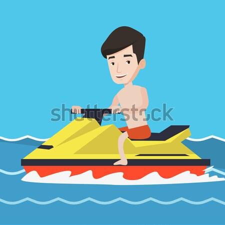 Asian woman training on jet ski in the sea. Stock photo © RAStudio
