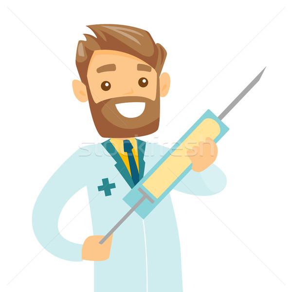 Médecin seringue vaccin souriant Photo stock © RAStudio