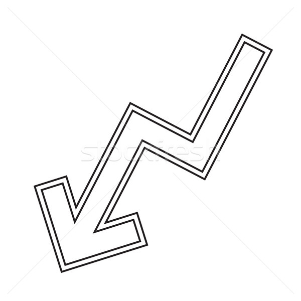 Stock photo: Decline graph vector line icon.