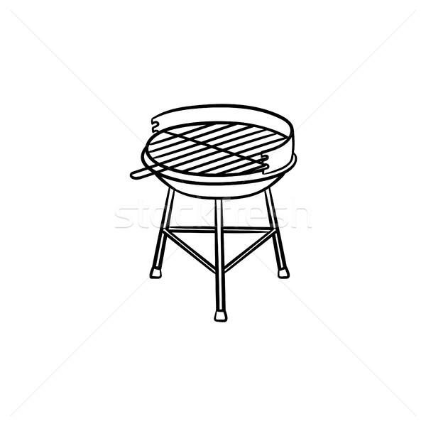 Charbon grill dessinés à la main croquis icône Photo stock © RAStudio