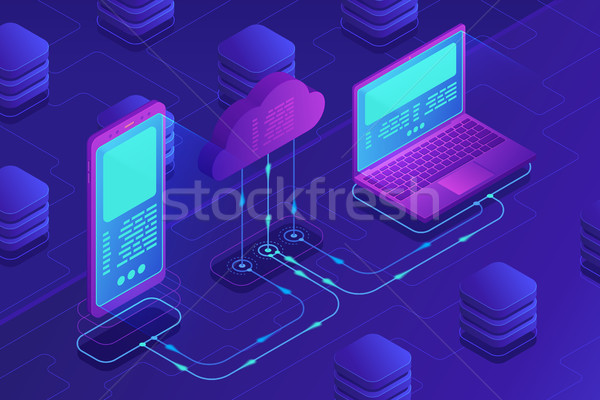 Isometrica nube stoccaggio memorizzazione dei dati laptop smartphone Foto d'archivio © RAStudio