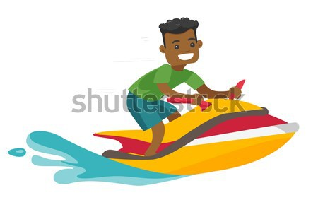 Homme blanc équitation jet ski mer Photo stock © RAStudio