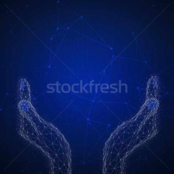 Veelhoek breed Open handen banner technologie Stockfoto © RAStudio