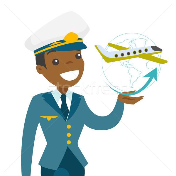 9668a28fb9 Airplane captain in pilot hat. vector illustration © Andrei Krauchuk ...