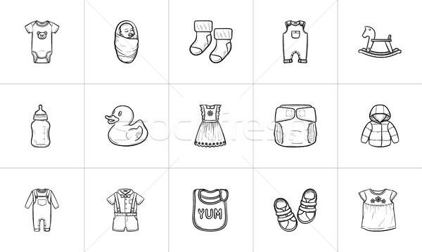 Kids hand drawn sketch icon set. Stock photo © RAStudio