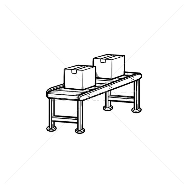 Conveyor belt with parcels hand drawn outline doodle icon. Stock photo © RAStudio