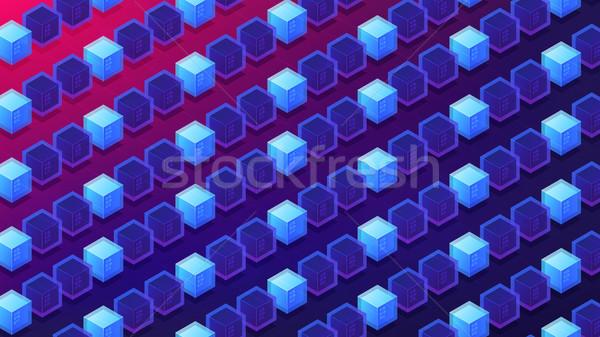 Isometric blockchain proof of stake concept. Stock photo © RAStudio
