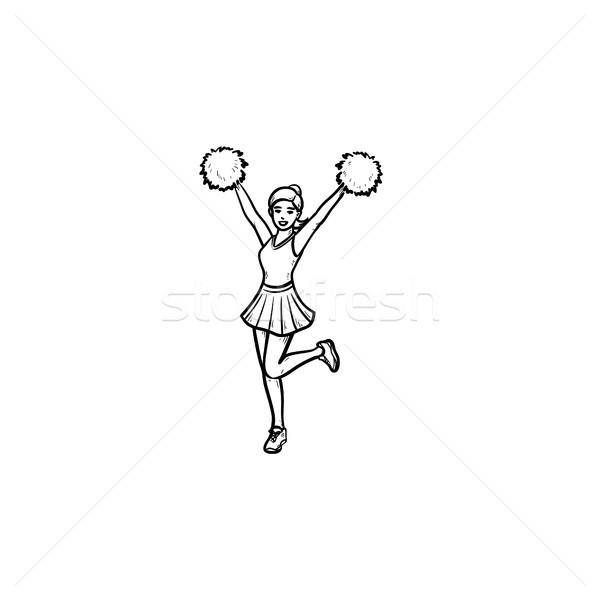 Cheerleader girl with pompoms hand drawn outline doodle icon. Stock photo © RAStudio