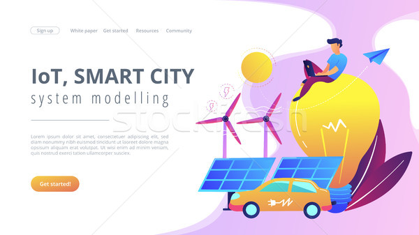 IoT, smart city and system modelling landing page. Stock photo © RAStudio