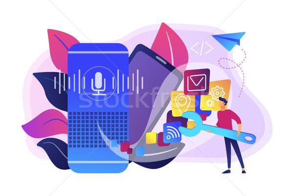 Smart speaker apps development concept vector illustration. Stock photo © RAStudio