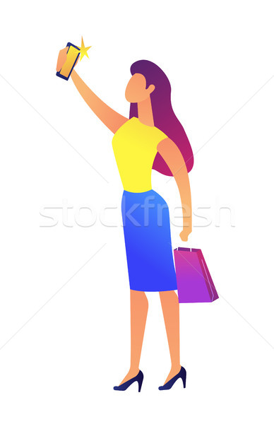 Business woman taking selfie vector illustration. Stock photo © RAStudio