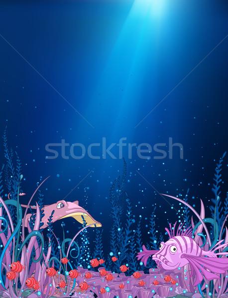 Oceaan onderwater cartoon koraalrif alge vis Stockfoto © RAStudio