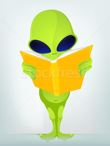 Grappig vreemdeling boek gelukkig student Stockfoto © RAStudio