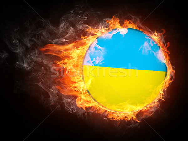 Ukraina banderą ognia grafika komputerowa star malarstwo Zdjęcia stock © RAStudio