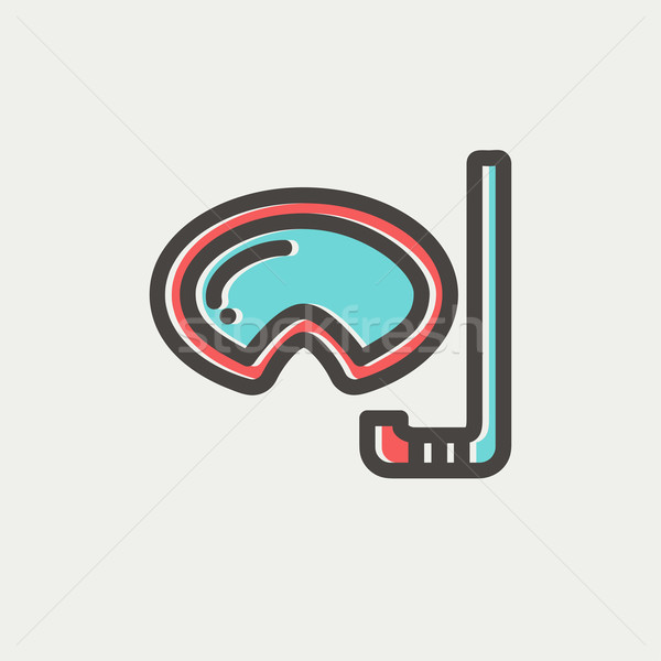 Mask and snorkel for snorkelling thin line icon Stock photo © RAStudio