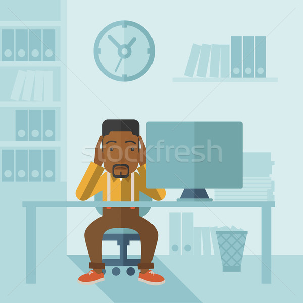 Overworked businessman is under stress. Stock photo © RAStudio