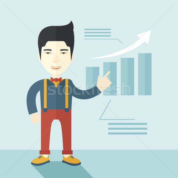 Japanese guy viewing company sales. Stock photo © RAStudio