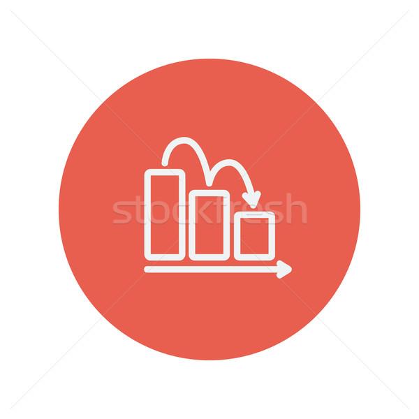 Stockfoto: Zakelijke · grafiek · beneden · dun · lijn · icon · web