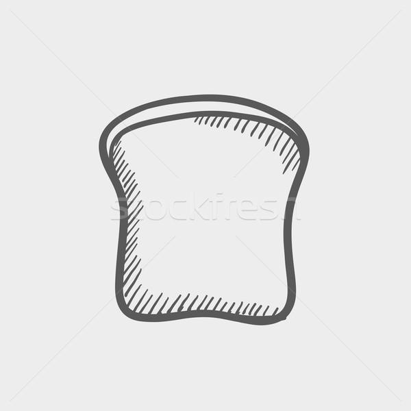 Single slice of bread sketch icon Stock photo © RAStudio