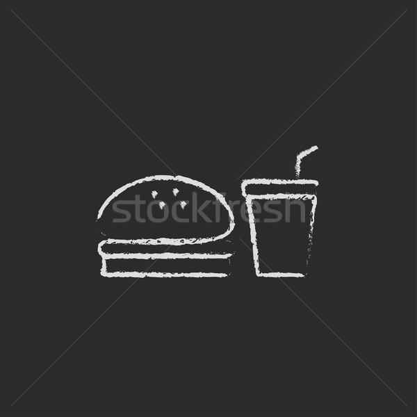 Fast food meal icon drawn in chalk. Stock photo © RAStudio