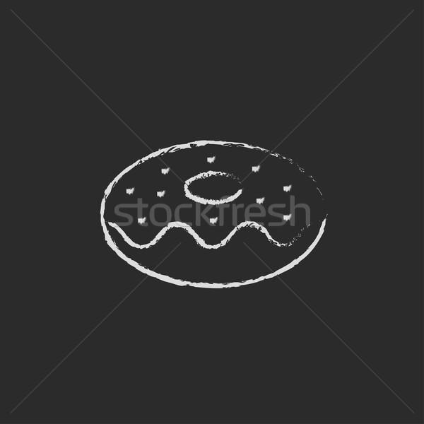Stockfoto: Donut · icon · krijt · Blackboard