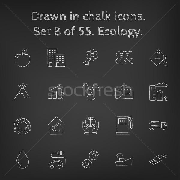 Ecology icon set drawn in chalk. Stock photo © RAStudio