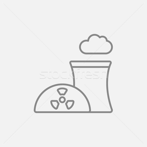 Nuclear usina linha ícone teia móvel Foto stock © RAStudio