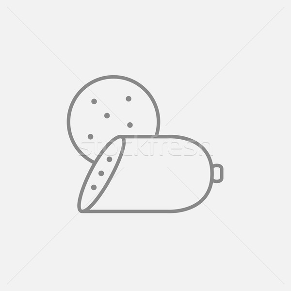 Sliced wurst line icon. Stock photo © RAStudio