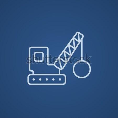 Rombolás állvány vonal ikon háló mobil Stock fotó © RAStudio