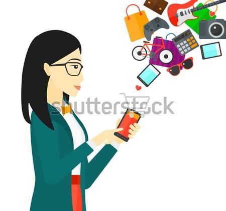 Stock fotó: Nő · készít · online · tart · okostelefon · bevásárlókocsi