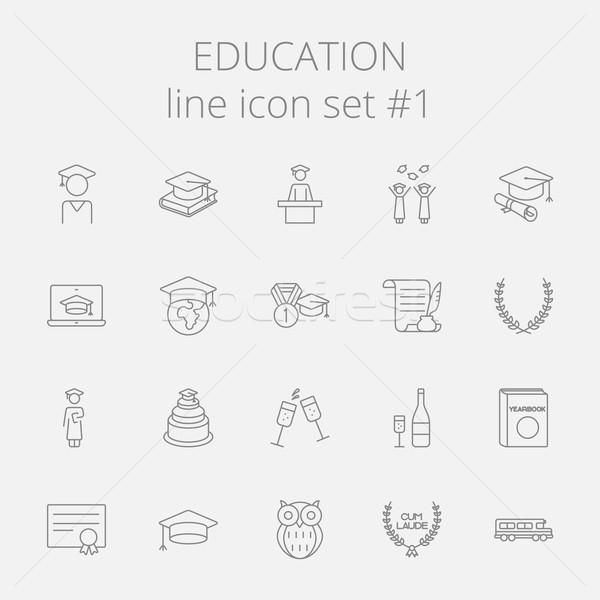 Onderwijs vector donkergrijs icon geïsoleerd Stockfoto © RAStudio