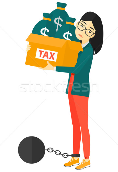 Chained woman with bags full of taxes.  Stock photo © RAStudio