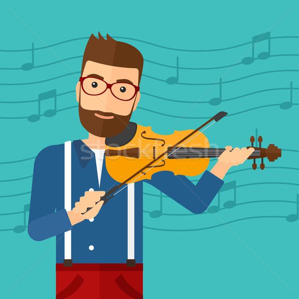 Adam oynama keman sakal mavi Stok fotoğraf © RAStudio
