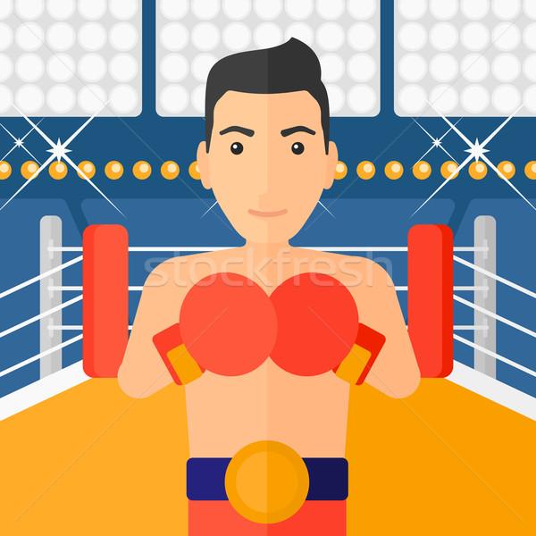 Confident boxer in gloves. Stock photo © RAStudio