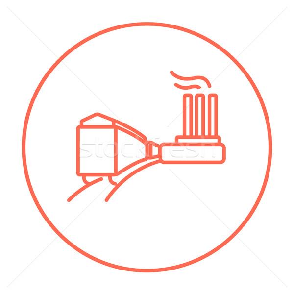 Fabryki kolej żelazna line ikona internetowych komórkowych Zdjęcia stock © RAStudio
